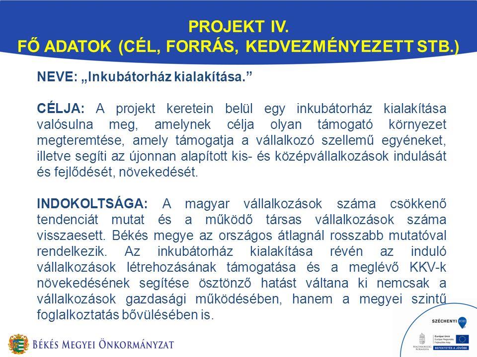 """PROJEKT IV. FŐ ADATOK (CÉL, FORRÁS, KEDVEZMÉNYEZETT STB.) NEVE: """"Inkubátorház kialakítása."""" CÉLJA: A projekt keretein belül egy inkubátorház kialakítá"""