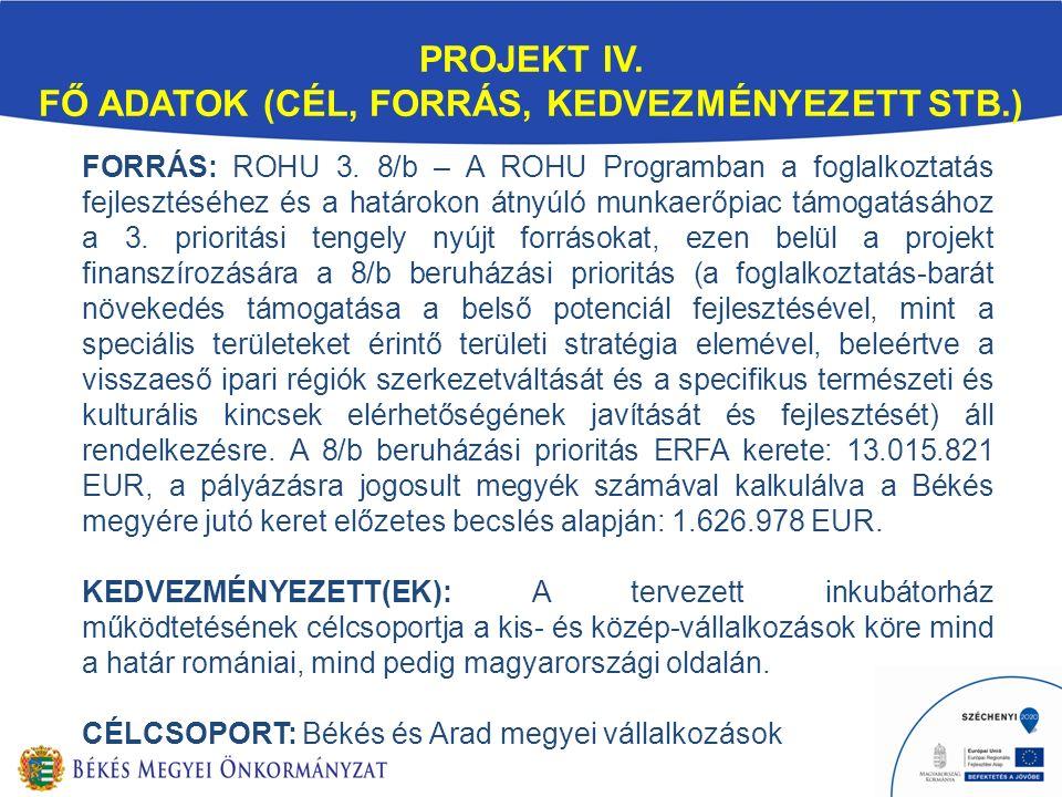 FORRÁS: ROHU 3. 8/b – A ROHU Programban a foglalkoztatás fejlesztéséhez és a határokon átnyúló munkaerőpiac támogatásához a 3. prioritási tengely nyúj