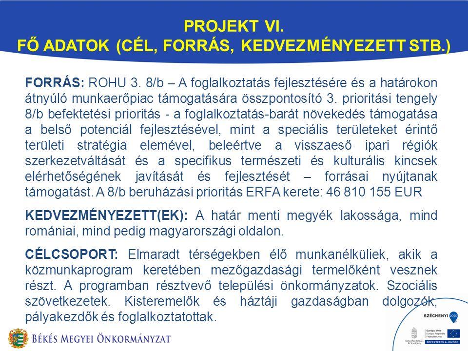FORRÁS: ROHU 3. 8/b – A foglalkoztatás fejlesztésére és a határokon átnyúló munkaerőpiac támogatására összpontosító 3. prioritási tengely 8/b befektet