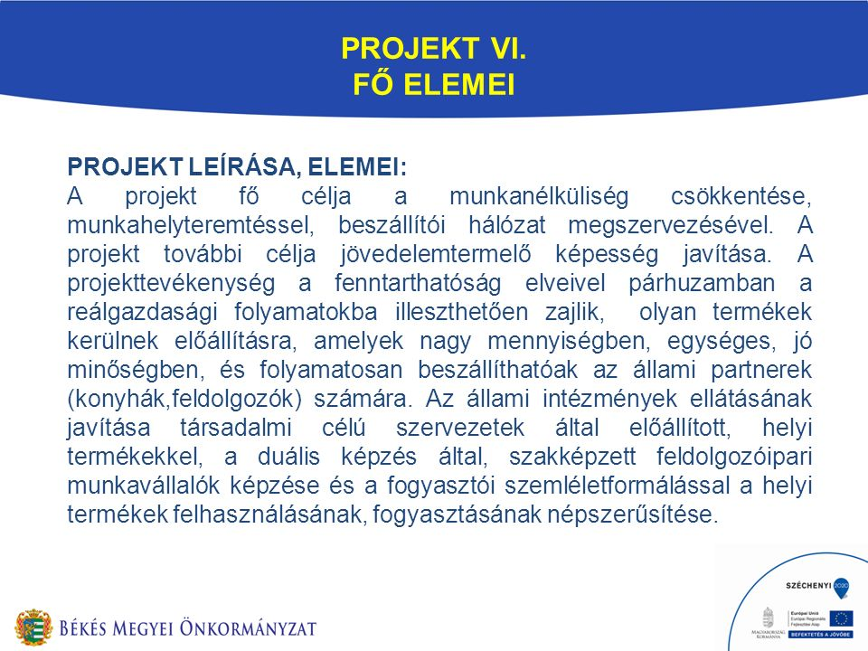 PROJEKT VI. FŐ ELEMEI PROJEKT LEÍRÁSA, ELEMEI: A projekt fő célja a munkanélküliség csökkentése, munkahelyteremtéssel, beszállítói hálózat megszervezé