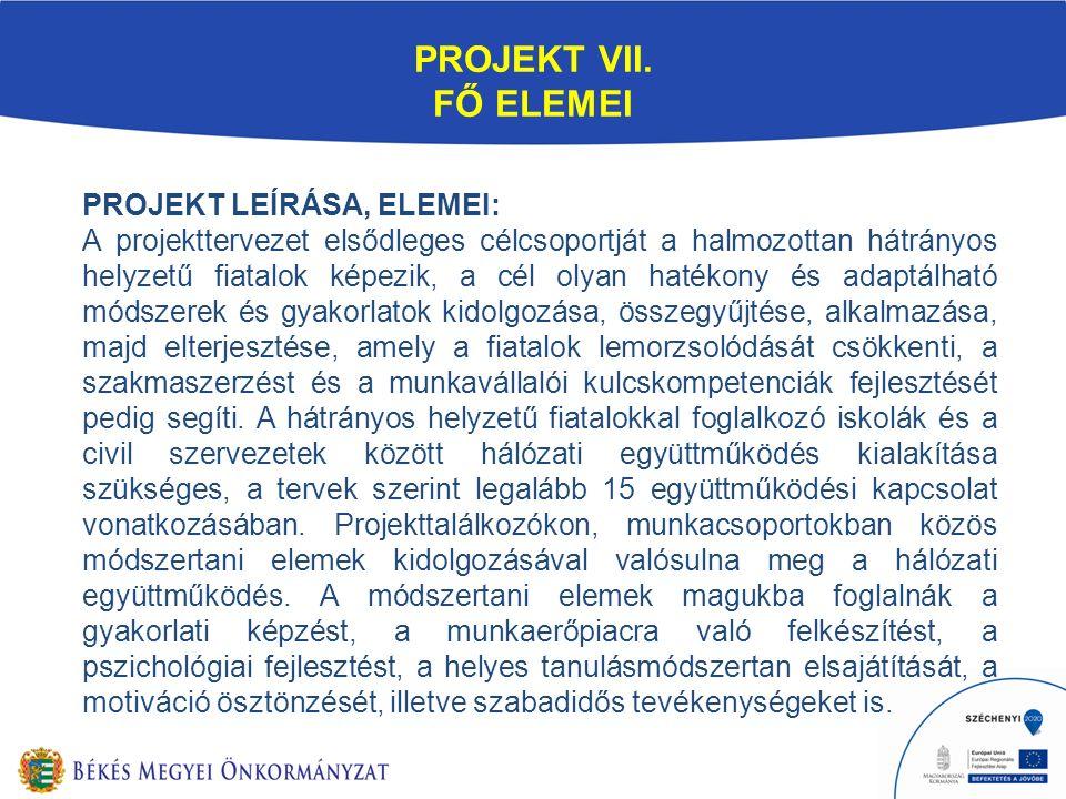 PROJEKT VII. FŐ ELEMEI PROJEKT LEÍRÁSA, ELEMEI: A projekttervezet elsődleges célcsoportját a halmozottan hátrányos helyzetű fiatalok képezik, a cél ol