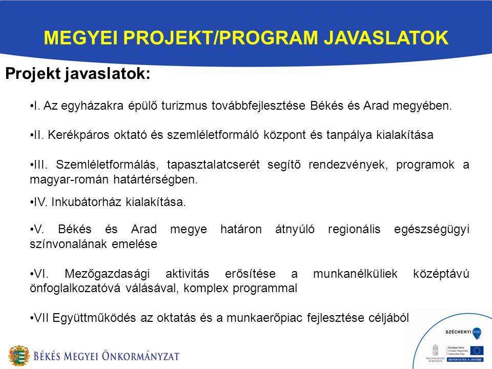 MEGYEI PROJEKT/PROGRAM JAVASLATOK Projekt javaslatok: I. Az egyházakra épülő turizmus továbbfejlesztése Békés és Arad megyében. II. Kerékpáros oktató