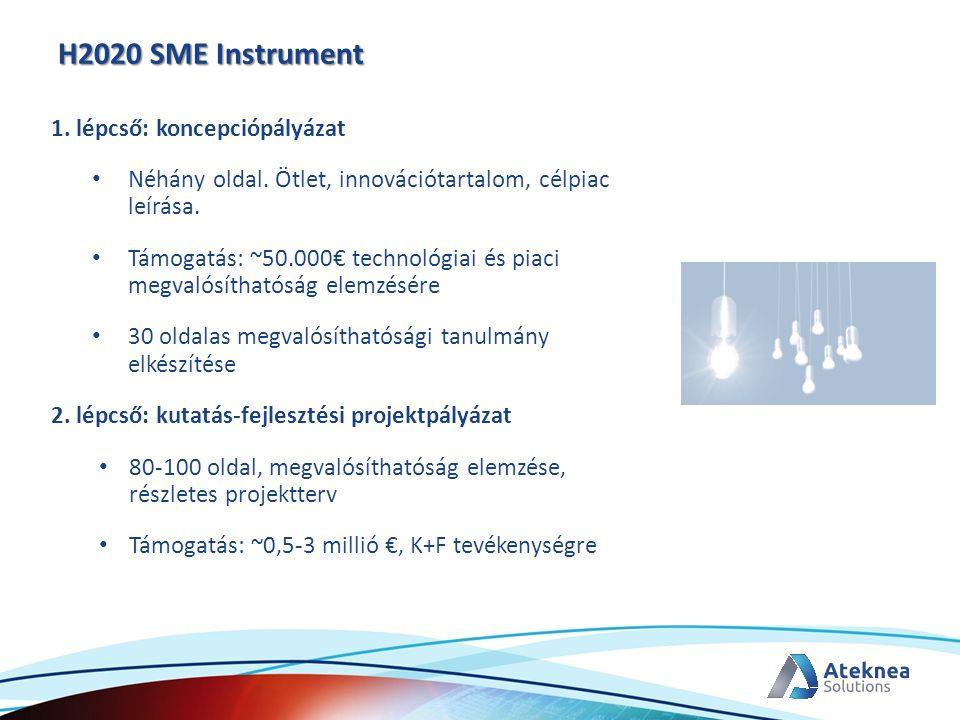 H2020 SME Instrument 1. lépcső: koncepciópályázat Néhány oldal. Ötlet, innovációtartalom, célpiac leírása. Támogatás: ~50.000€ technológiai és piaci m