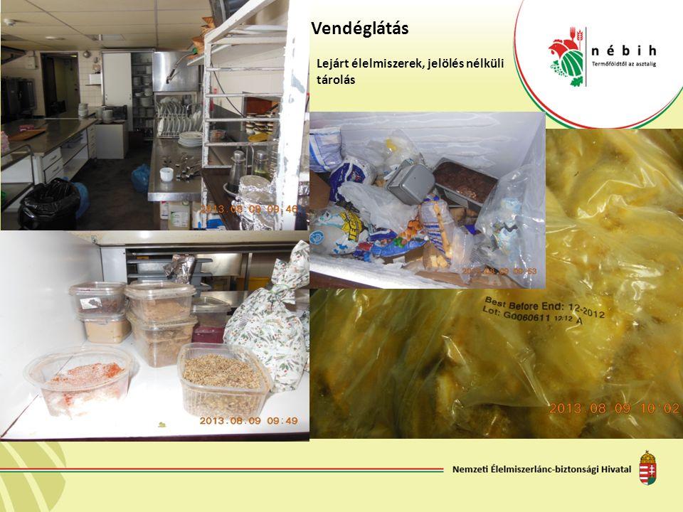 Vendéglátás Lejárt élelmiszerek, jelölés nélküli tárolás