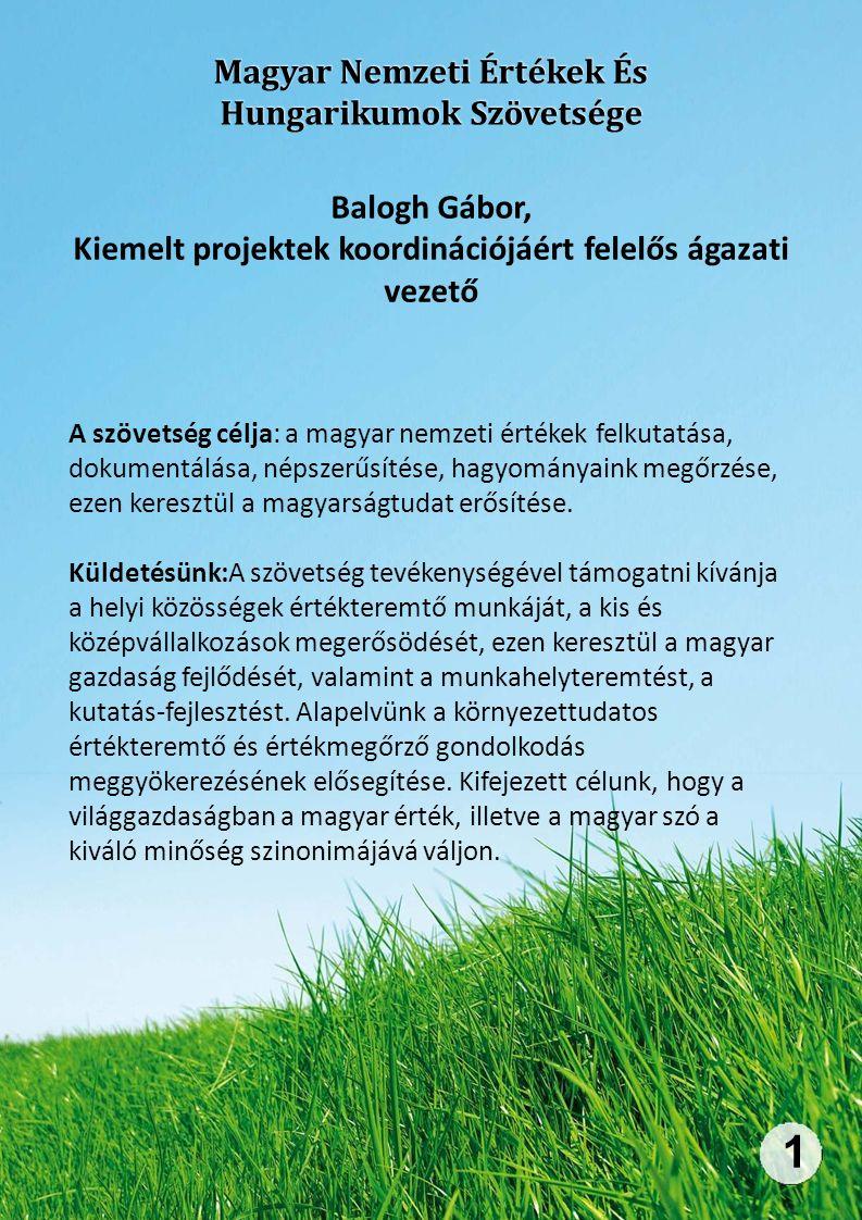 Magyar Nemzeti Értékek És Hungarikumok Szövetsége 1 Balogh Gábor, Kiemelt projektek koordinációjáért felelős ágazati vezető A szövetség célja: a magyar nemzeti értékek felkutatása, dokumentálása, népszerűsítése, hagyományaink megőrzése, ezen keresztül a magyarságtudat erősítése.