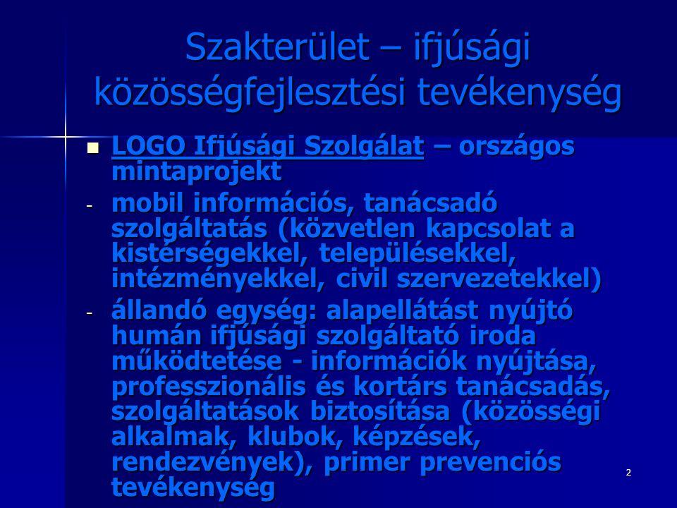 2 Szakterület – ifjúsági közösségfejlesztési tevékenység LOGO Ifjúsági Szolgálat – országos mintaprojekt LOGO Ifjúsági Szolgálat – országos mintaprojekt - mobil információs, tanácsadó szolgáltatás (közvetlen kapcsolat a kistérségekkel, településekkel, intézményekkel, civil szervezetekkel) - állandó egység: alapellátást nyújtó humán ifjúsági szolgáltató iroda működtetése - információk nyújtása, professzionális és kortárs tanácsadás, szolgáltatások biztosítása (közösségi alkalmak, klubok, képzések, rendezvények), primer prevenciós tevékenység