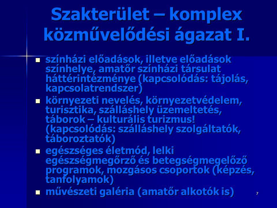 7 Szakterület – komplex közművelődési ágazat I.