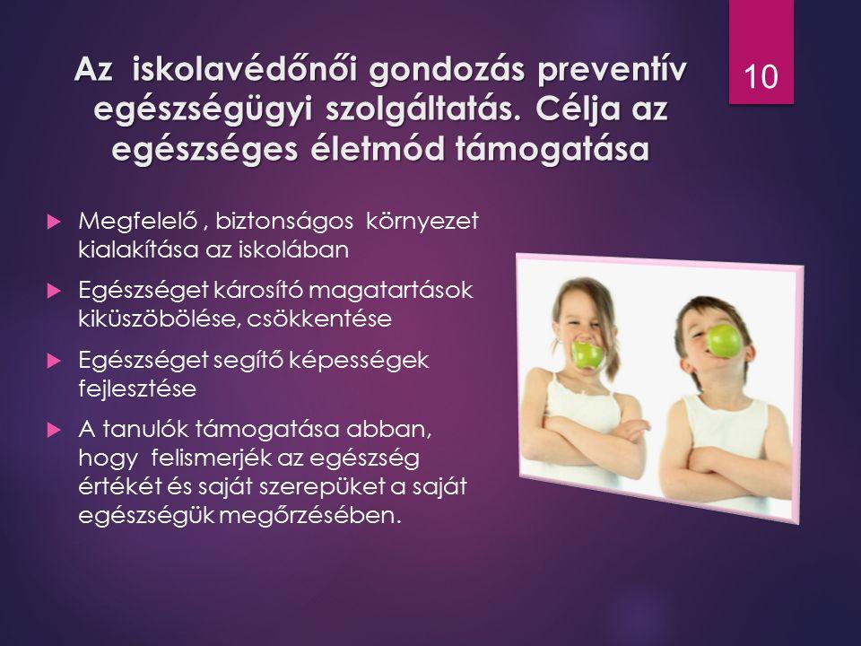 Az iskolavédőnői gondozás preventív egészségügyi szolgáltatás. Célja az egészséges életmód támogatása  Megfelelő, biztonságos környezet kialakítása a