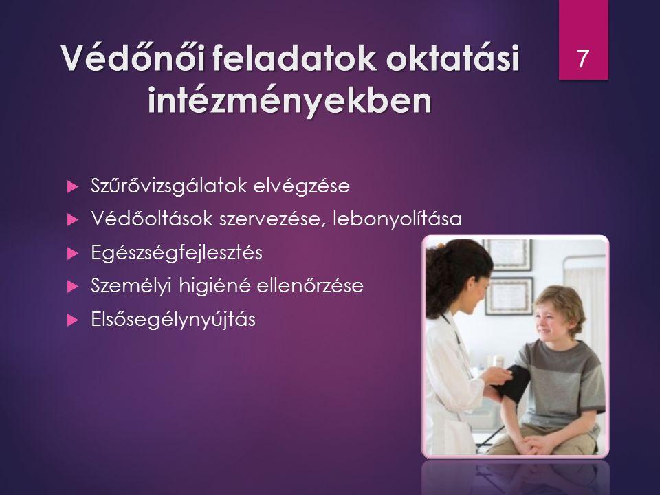 Védőnői feladatok oktatási intézményekben  Szűrővizsgálatok elvégzése  Védőoltások szervezése, lebonyolítása  Egészségfejlesztés  Személyi higiéné