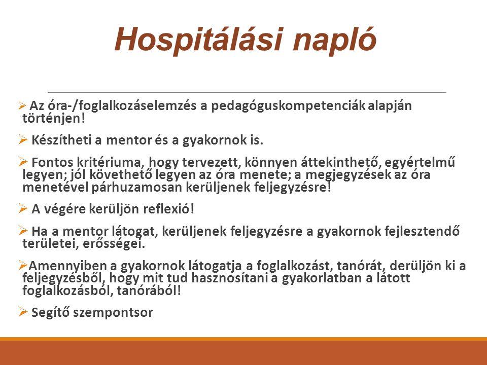Hospitálási napló  Az óra-/foglalkozáselemzés a pedagóguskompetenciák alapján történjen.