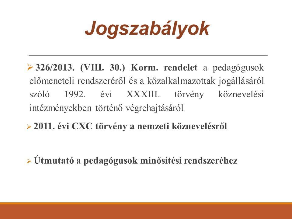 Jogszabályok  326/2013. (VIII. 30.) Korm. rendelet a pedagógusok előmeneteli rendszeréről és a közalkalmazottak jogállásáról szóló 1992. évi XXXIII.