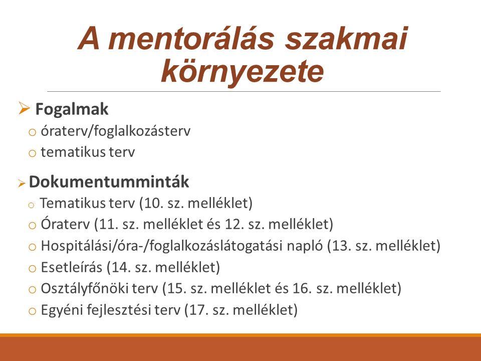 A mentori munka dokumentumai  Mentori ütemterv o Hónap/ hét/ intervallum megnevezése o Feladat, tevékenység konkrét leírása o Közreműködők megnevezése o Módszerek o Elvárható eredmények o Dokumentumok, ezen belül az adminisztráció dokumentumai, illetve az átadott módszertani segédanyagok megnevezése o Megjegyzések, reflexiók