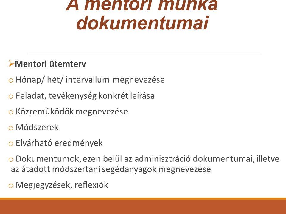 A mentori munka dokumentumai  Mentori ütemterv o Hónap/ hét/ intervallum megnevezése o Feladat, tevékenység konkrét leírása o Közreműködők megnevezés