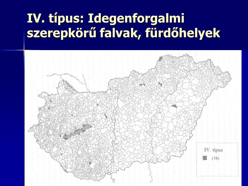 18 IV. típus: Idegenforgalmi szerepkörű falvak, fürdőhelyek