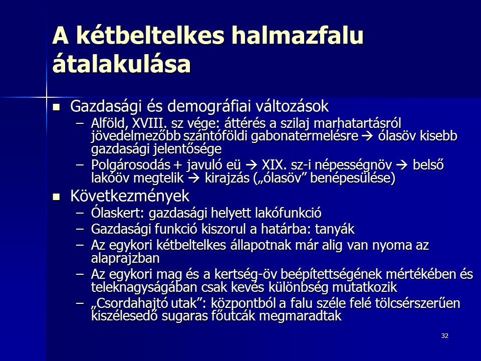 32 A kétbeltelkes halmazfalu átalakulása Gazdasági és demográfiai változások Gazdasági és demográfiai változások –Alföld, XVIII.