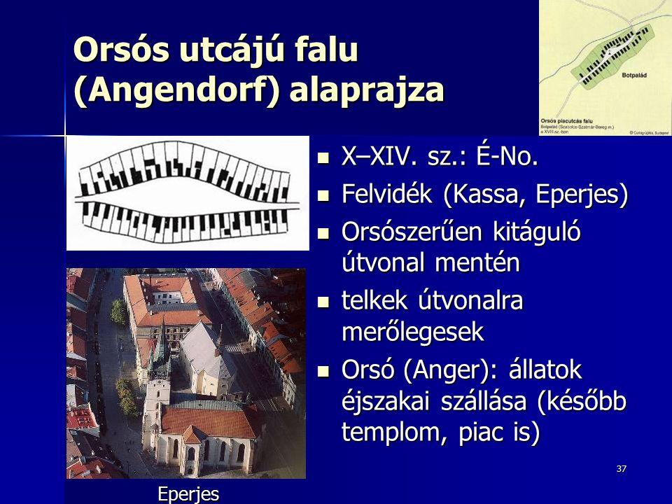37 Orsós utcájú falu (Angendorf) alaprajza X–XIV. sz.: É-No. X–XIV. sz.: É-No. Felvidék (Kassa, Eperjes) Felvidék (Kassa, Eperjes) Orsószerűen kitágul