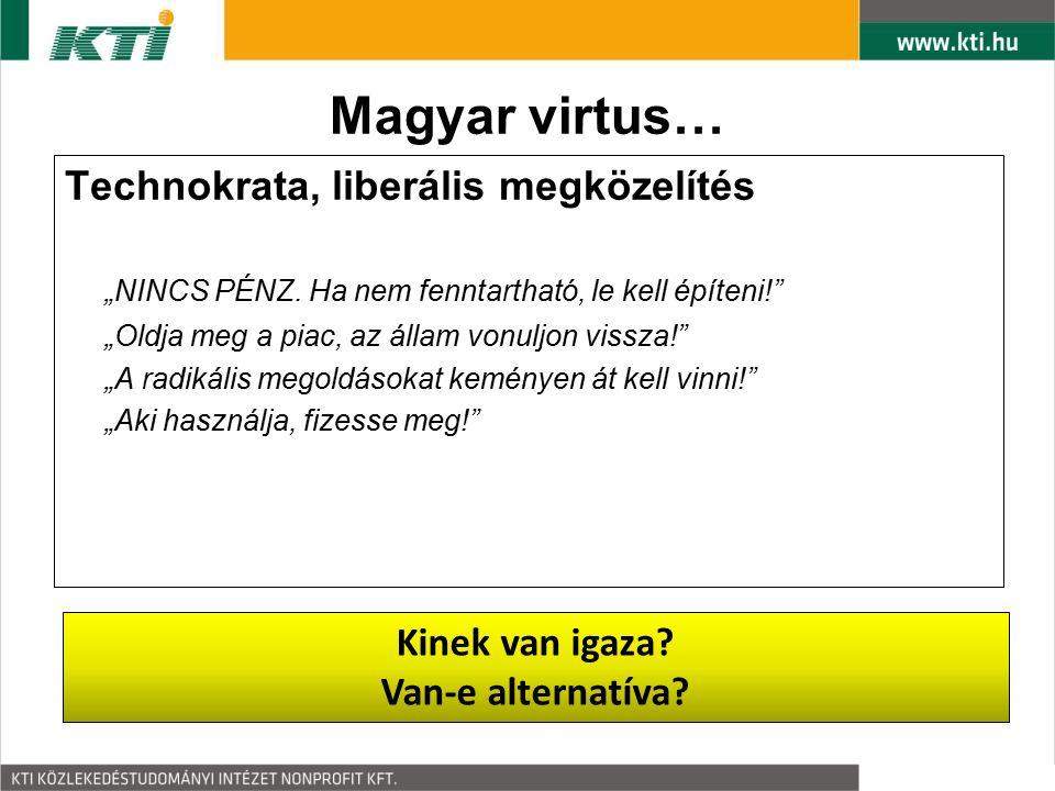 """Magyar virtus… Technokrata, liberális megközelítés """"NINCS PÉNZ. Ha nem fenntartható, le kell építeni!"""" """"Oldja meg a piac, az állam vonuljon vissza!"""" """""""