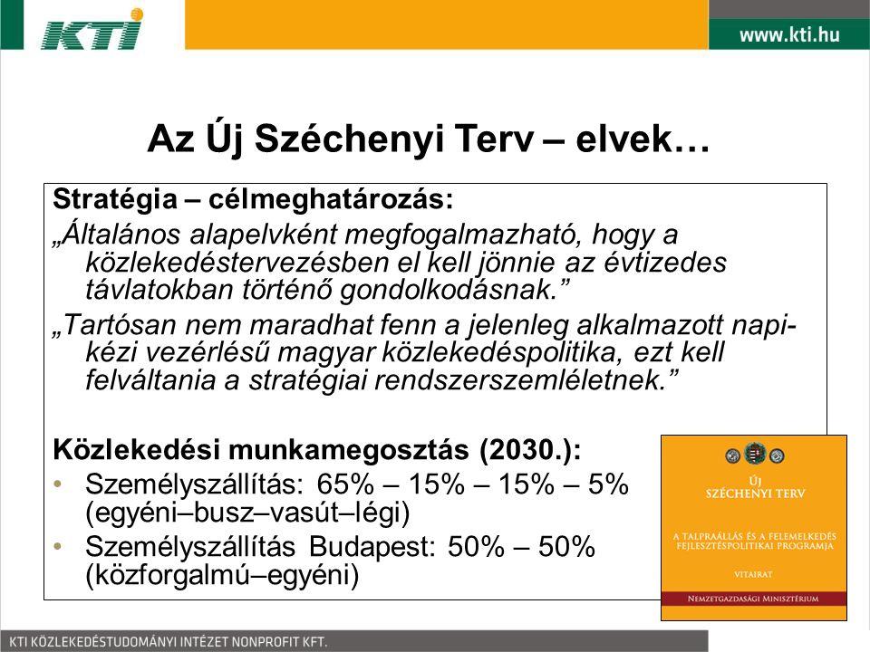 """Stratégia – célmeghatározás: """"Általános alapelvként megfogalmazható, hogy a közlekedéstervezésben el kell jönnie az évtizedes távlatokban történő gondolkodásnak. """"Tartósan nem maradhat fenn a jelenleg alkalmazott napi- kézi vezérlésű magyar közlekedéspolitika, ezt kell felváltania a stratégiai rendszerszemléletnek. Közlekedési munkamegosztás (2030.): Személyszállítás: 65% – 15% – 15% – 5% (egyéni–busz–vasút–légi) Személyszállítás Budapest: 50% – 50% (közforgalmú–egyéni) Az Új Széchenyi Terv – elvek…"""