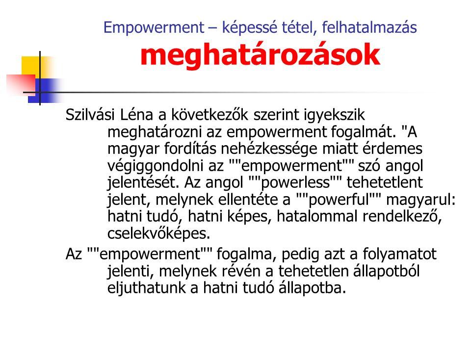 Empowerment – képessé tétel, felhatalmazás meghatározások Szilvási Léna a következők szerint igyekszik meghatározni az empowerment fogalmát.