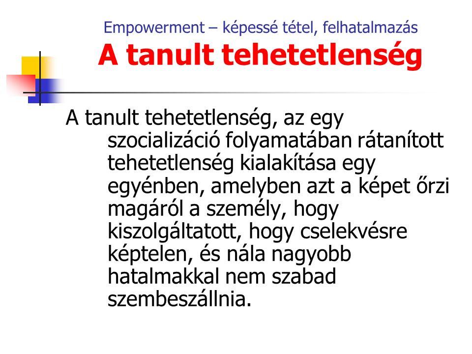 Empowerment – képessé tétel, felhatalmazás A középosztálybeli férfi gondolkodás jellemzői Saját értékeit és gondolkodását arroganciával képviseli, hegemóniára törekvő.
