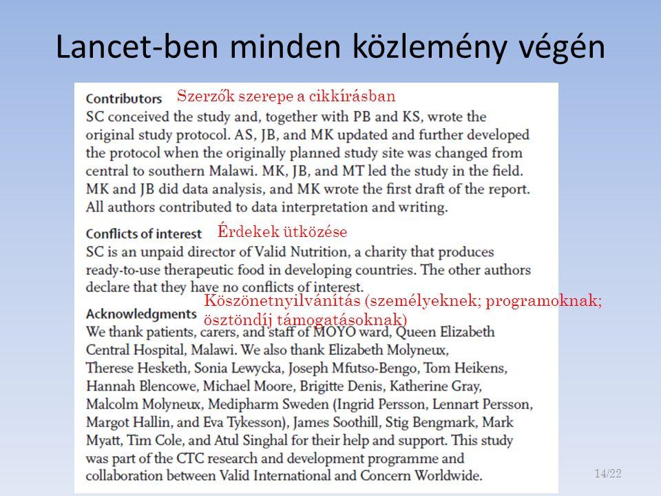 Szerzők szerepe a cikkírásban Érdekek ütközése Köszönetnyilvánítás (személyeknek; programoknak; ösztöndíj támogatásoknak) Lancet-ben minden közlemény végén 14/22