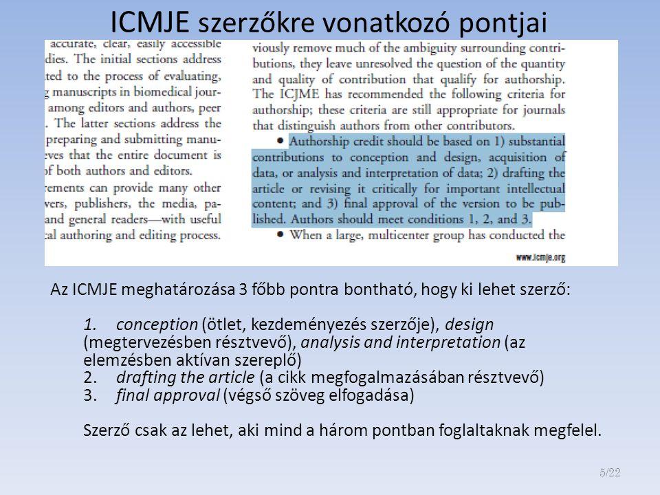 ICMJE szerzőkre vonatkozó pontjai Az ICMJE meghatározása 3 főbb pontra bontható, hogy ki lehet szerző: 1.