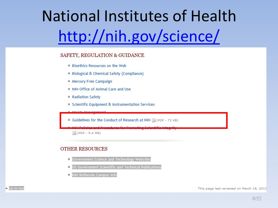 National Institutes of Health http://nih.gov/science/ http://nih.gov/science/ 6/22