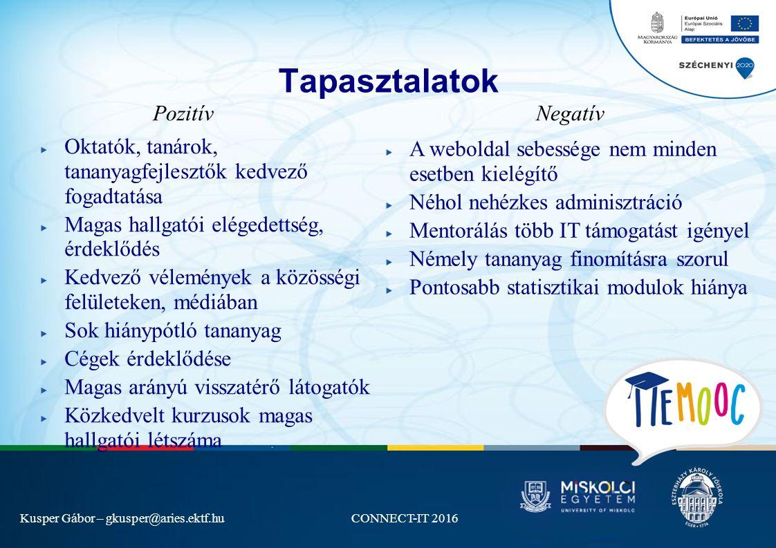 Kusper Gábor – gkusper@aries.ektf.huCONNECT-IT 2016 Tapasztalatok Oktatók, tanárok, tananyagfejlesztők kedvező fogadtatása Magas hallgatói elégedettség, érdeklődés Kedvező vélemények a közösségi felületeken, médiában Sok hiánypótló tananyag Cégek érdeklődése Magas arányú visszatérő látogatók Közkedvelt kurzusok magas hallgatói létszáma PozitívNegatív A weboldal sebessége nem minden esetben kielégítő Néhol nehézkes adminisztráció Mentorálás több IT támogatást igényel Némely tananyag finomításra szorul Pontosabb statisztikai modulok hiánya