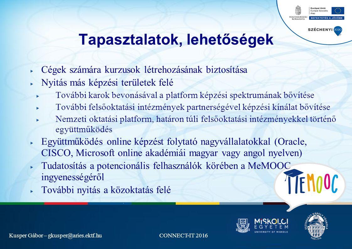 Kusper Gábor – gkusper@aries.ektf.huCONNECT-IT 2016 Tapasztalatok, lehetőségek Cégek számára kurzusok létrehozásának biztosítása Nyitás más képzési területek felé További karok bevonásával a platform képzési spektrumának bővítése További felsőoktatási intézmények partnerségével képzési kínálat bővítése Nemzeti oktatási platform, határon túli felsőoktatási intézményekkel történő együttműködés Együttműködés online képzést folytató nagyvállalatokkal (Oracle, CISCO, Microsoft online akadémiái magyar vagy angol nyelven) Tudatosítás a potencionális felhasználók körében a MeMOOC ingyenességéről További nyitás a közoktatás felé