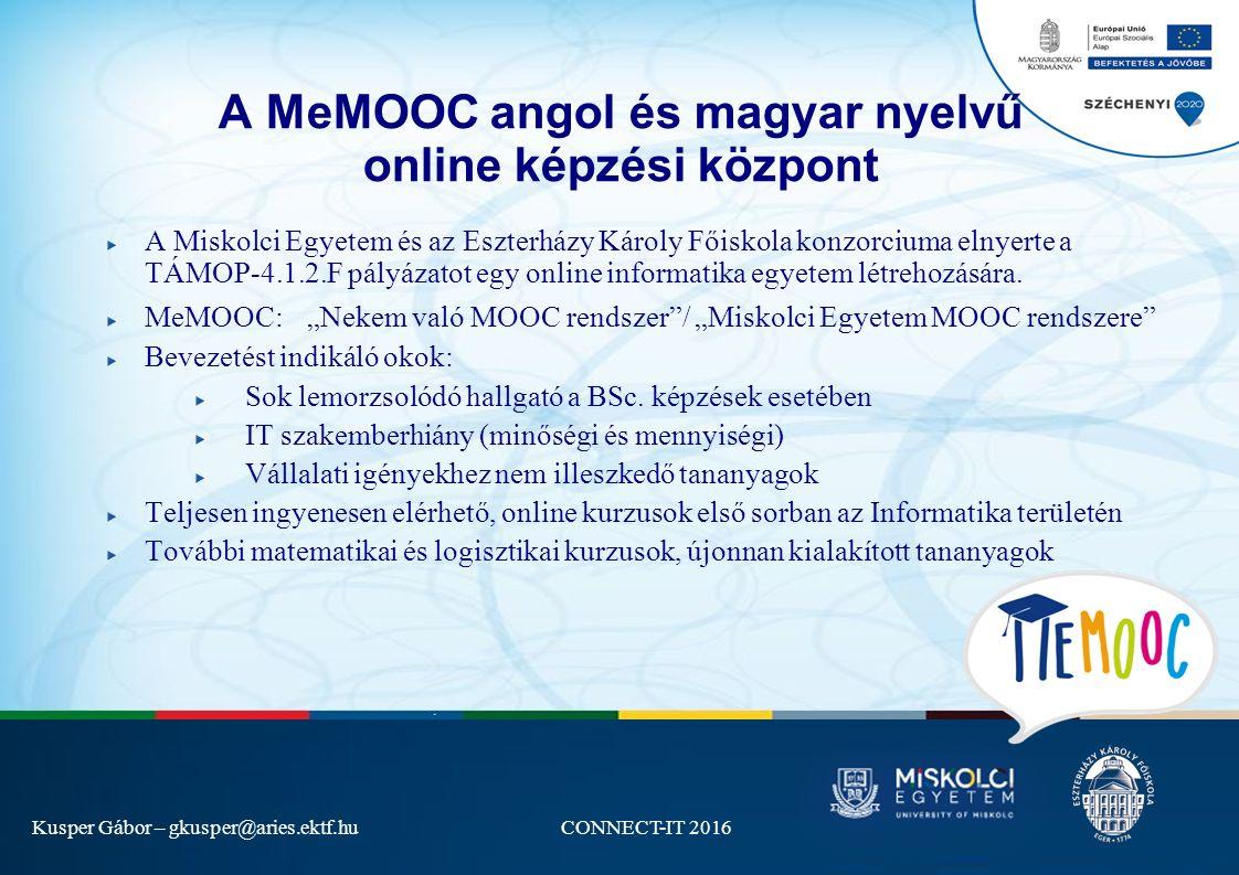 Kusper Gábor – gkusper@aries.ektf.huCONNECT-IT 2016 A MeMOOC angol és magyar nyelvű online képzési központ A Miskolci Egyetem és az Eszterházy Károly Főiskola konzorciuma elnyerte a TÁMOP-4.1.2.F pályázatot egy online informatika egyetem létrehozására.