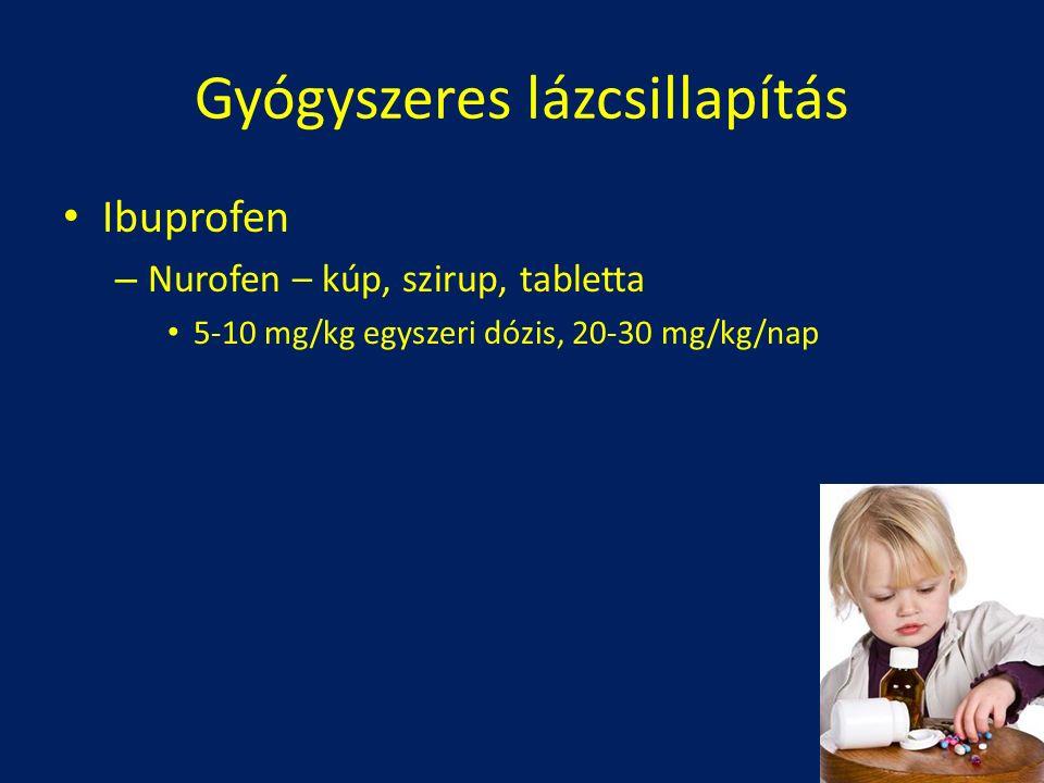 Ibuprofen – Nurofen – kúp, szirup, tabletta 5-10 mg/kg egyszeri dózis, 20-30 mg/kg/nap Gyógyszeres lázcsillapítás