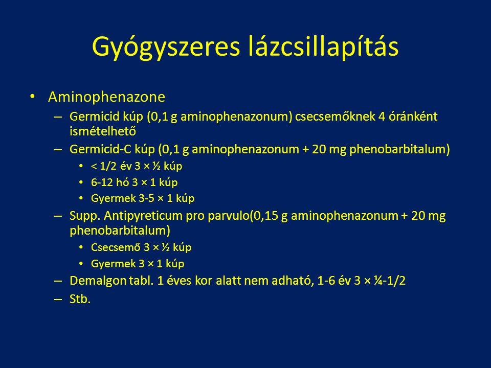 Aminophenazone – Germicid kúp (0,1 g aminophenazonum) csecsemőknek 4 óránként ismételhető – Germicid-C kúp (0,1 g aminophenazonum + 20 mg phenobarbitalum) < 1/2 év 3 × ½ kúp 6-12 hó 3 × 1 kúp Gyermek 3-5 × 1 kúp – Supp.
