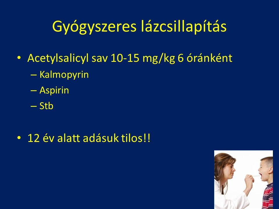 Acetylsalicyl sav 10-15 mg/kg 6 óránként – Kalmopyrin – Aspirin – Stb 12 év alatt adásuk tilos!! Gyógyszeres lázcsillapítás