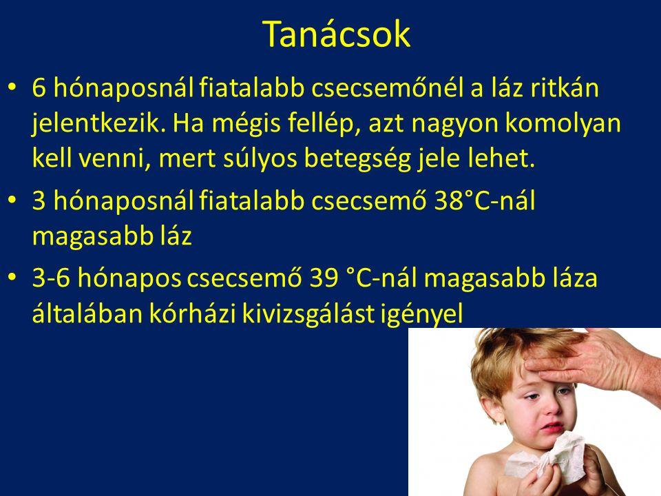 Tanácsok 6 hónaposnál fiatalabb csecsemőnél a láz ritkán jelentkezik. Ha mégis fellép, azt nagyon komolyan kell venni, mert súlyos betegség jele lehet