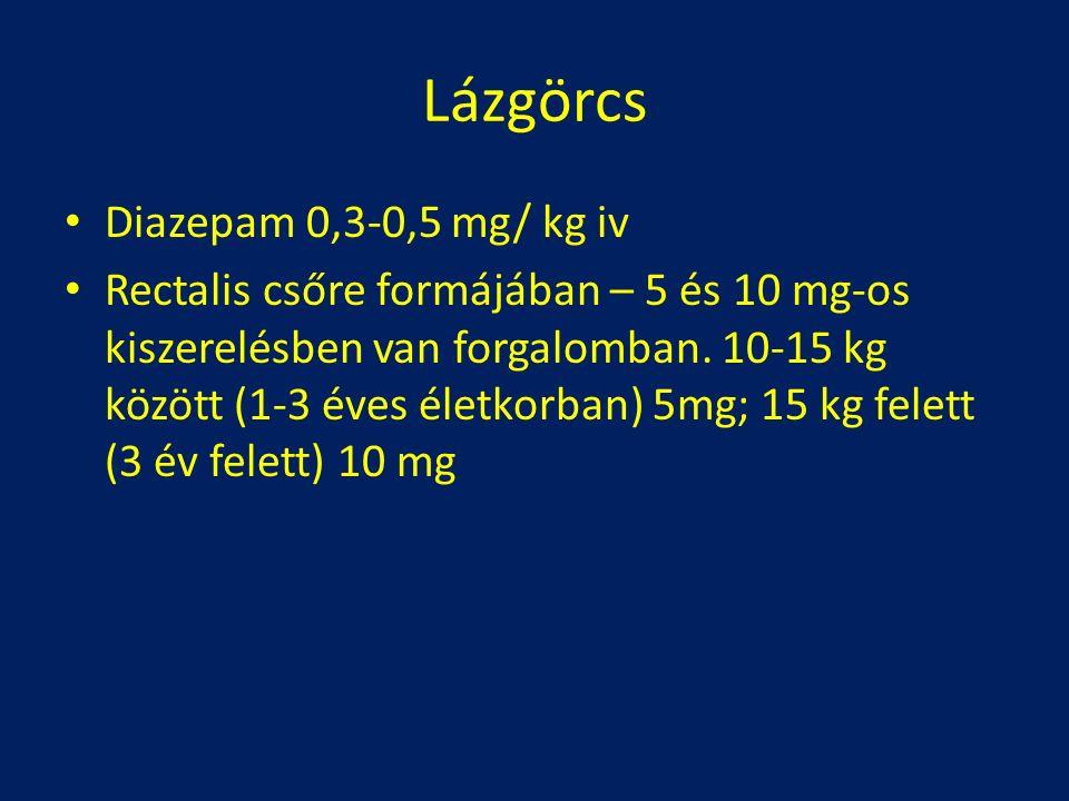 Lázgörcs Diazepam 0,3-0,5 mg/ kg iv Rectalis csőre formájában – 5 és 10 mg-os kiszerelésben van forgalomban. 10-15 kg között (1-3 éves életkorban) 5mg