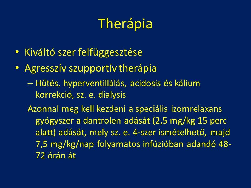 Therápia Kiváltó szer felfüggesztése Agresszív szupportív therápia – Hűtés, hyperventillálás, acidosis és kálium korrekció, sz. e. dialysis Azonnal me
