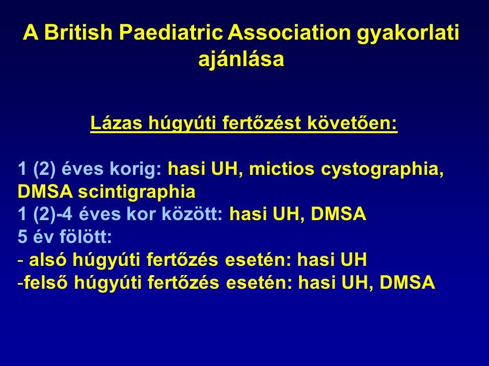 A British Paediatric Association gyakorlati ajánlása Lázas húgyúti fertőzést követően: 1 (2) éves korig: hasi UH, mictios cystographia, DMSA scintigraphia 1 (2)-4 éves kor között: hasi UH, DMSA 5 év fölött: - alsó húgyúti fertőzés esetén: hasi UH -felső húgyúti fertőzés esetén: hasi UH, DMSA