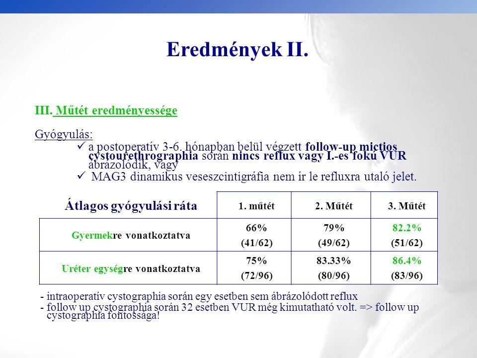 Eredmények II. III. Műtét eredményessége Gyógyulás: a postoperatív 3-6.