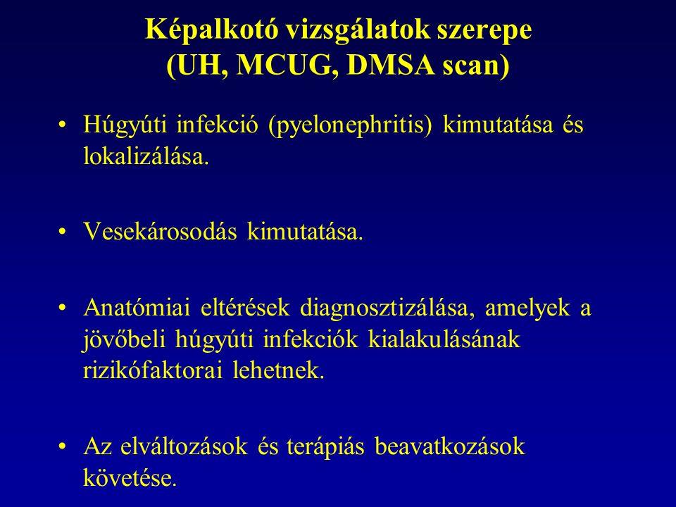 Képalkotó vizsgálatok szerepe (UH, MCUG, DMSA scan) Húgyúti infekció (pyelonephritis) kimutatása és lokalizálása.