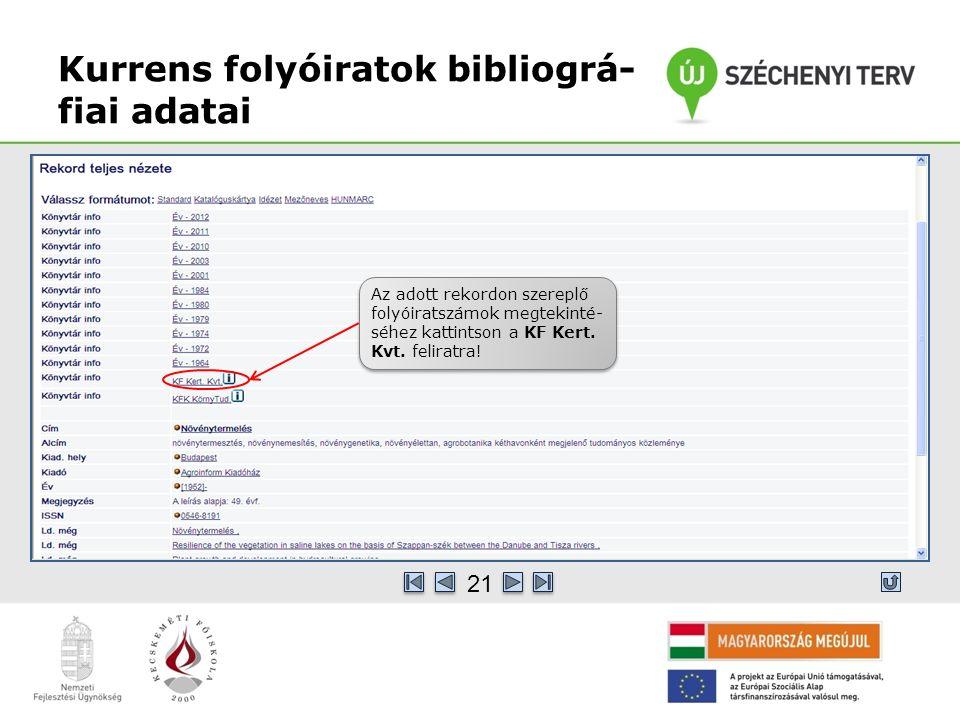 Kurrens folyóiratok bibliográ- fiai adatai Az adott rekordon szereplő folyóiratszámok megtekinté- séhez kattintson a KF Kert.
