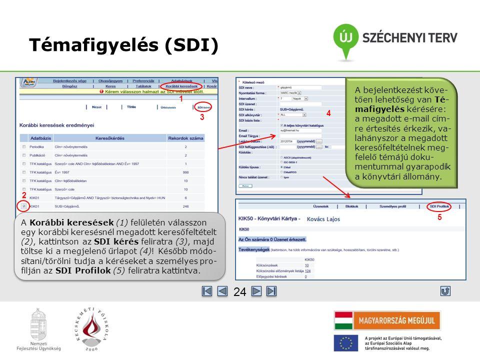 Témafigyelés (SDI) A Korábbi keresések (1) felületén válasszon egy korábbi keresésnél megadott keresőfeltételt (2), kattintson az SDI kérés feliratra (3), majd töltse ki a megjelenő űrlapot (4).