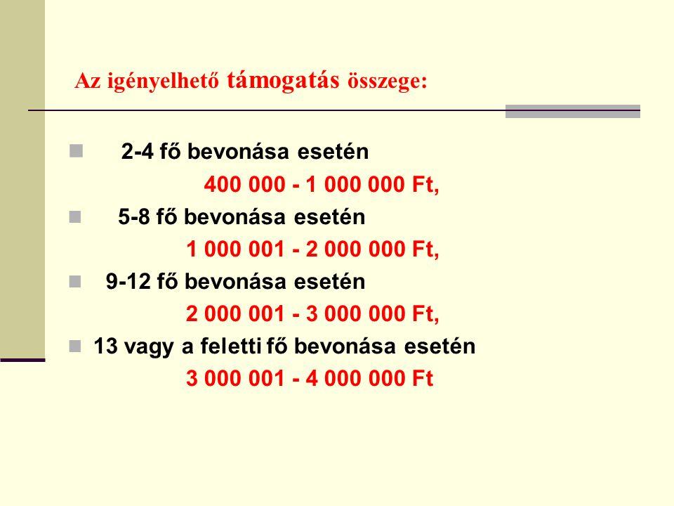 Az igényelhető támogatás összege: 2-4 fő bevonása esetén 400 000 - 1 000 000 Ft, 5-8 fő bevonása esetén 1 000 001 - 2 000 000 Ft, 9-12 fő bevonása esetén 2 000 001 - 3 000 000 Ft, 13 vagy a feletti fő bevonása esetén 3 000 001 - 4 000 000 Ft