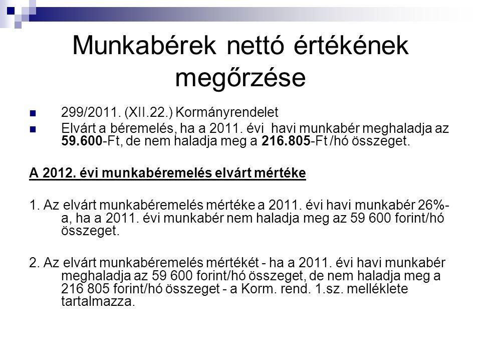 Munkabérek nettó értékének megőrzése 299/2011.