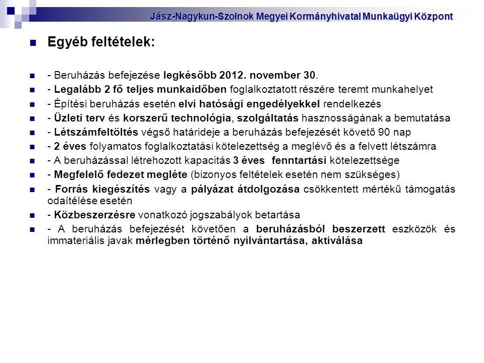 Egyéb feltételek: - Beruházás befejezése legkésőbb 2012.
