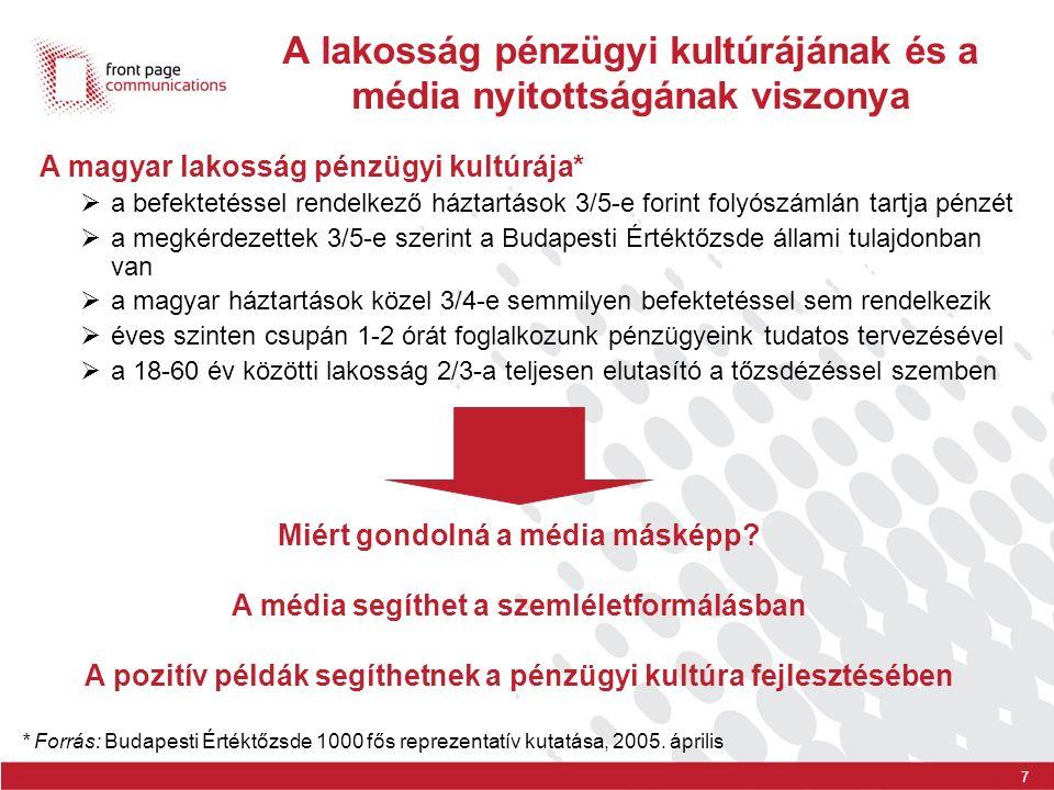 7 A lakosság pénzügyi kultúrájának és a média nyitottságának viszonya * Forrás: Budapesti Értéktőzsde 1000 fős reprezentatív kutatása, 2005. április A