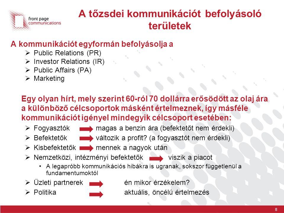 8 A tőzsdei kommunikációt befolyásoló területek A kommunikációt egyformán befolyásolja a  Public Relations (PR)  Investor Relations (IR)  Public Af