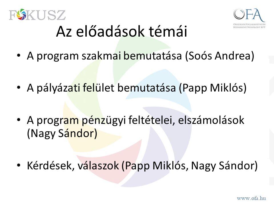 Az előadások témái A program szakmai bemutatása (Soós Andrea) A pályázati felület bemutatása (Papp Miklós) A program pénzügyi feltételei, elszámolások