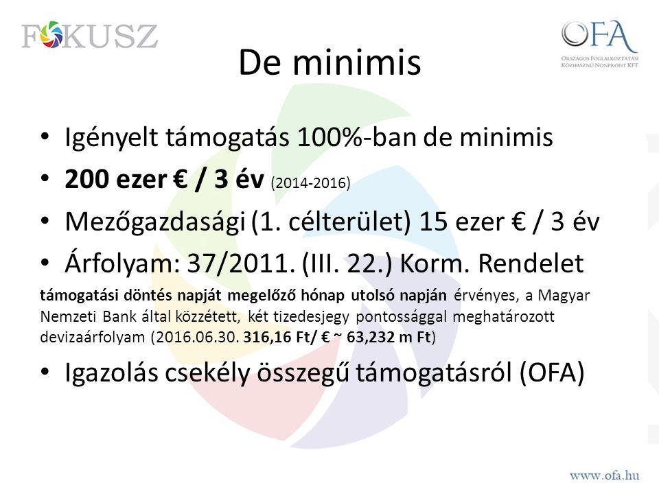 De minimis Igényelt támogatás 100%-ban de minimis 200 ezer € / 3 év (2014-2016) Mezőgazdasági (1. célterület) 15 ezer € / 3 év Árfolyam: 37/2011. (III