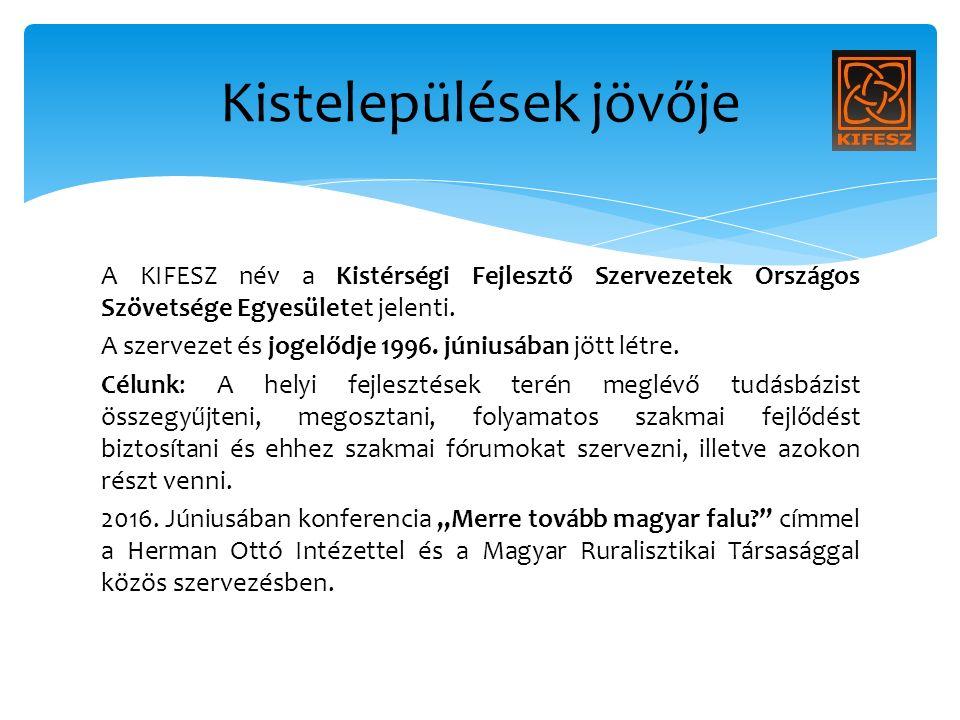 A KIFESZ név a Kistérségi Fejlesztő Szervezetek Országos Szövetsége Egyesületet jelenti.