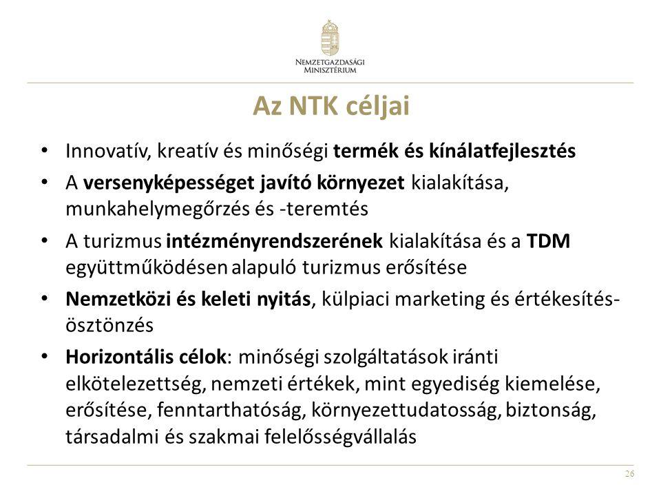 26 Az NTK céljai Innovatív, kreatív és minőségi termék és kínálatfejlesztés A versenyképességet javító környezet kialakítása, munkahelymegőrzés és -teremtés A turizmus intézményrendszerének kialakítása és a TDM együttműködésen alapuló turizmus erősítése Nemzetközi és keleti nyitás, külpiaci marketing és értékesítés- ösztönzés Horizontális célok: minőségi szolgáltatások iránti elkötelezettség, nemzeti értékek, mint egyediség kiemelése, erősítése, fenntarthatóság, környezettudatosság, biztonság, társadalmi és szakmai felelősségvállalás